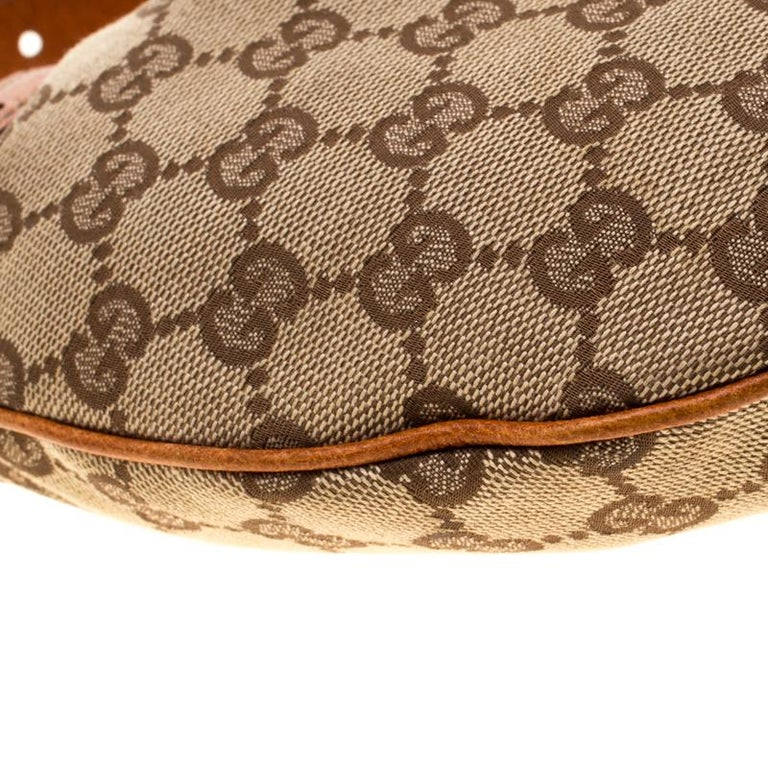 Gucci Beige/Brown GG Canvas and Leather Horsebit Hobo 7