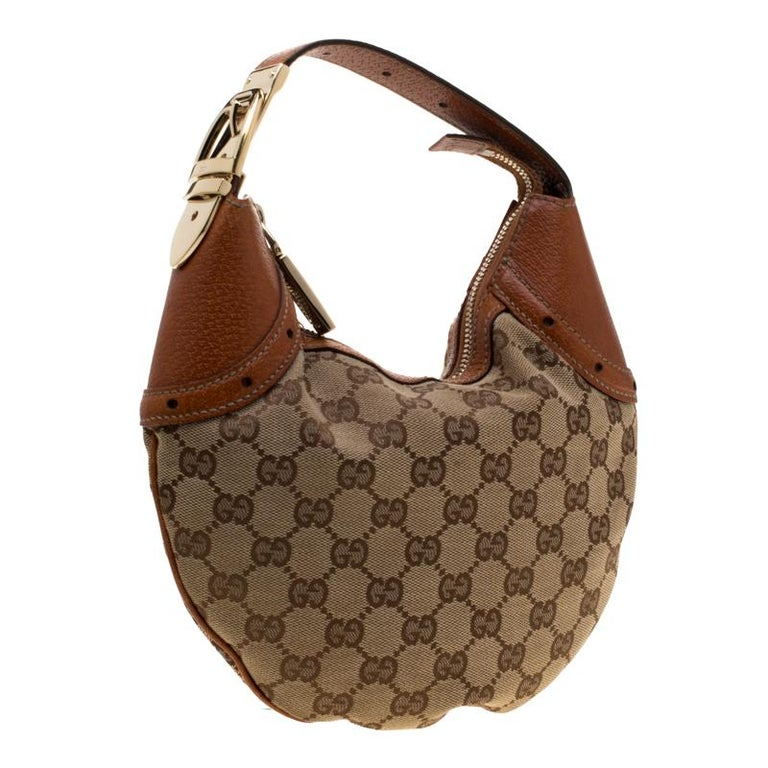 Women's Gucci Beige/Brown GG Canvas and Leather Horsebit Hobo