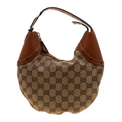 Gucci Beige/Brown GG Canvas and Leather Horsebit Hobo