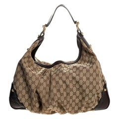 Gucci Beige/Brown GG Canvas and Leather Large Jockey Hobo