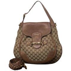 Gucci Beige/Brown GG Canvas and Leather Large New Pelham Horsebit Shoulder Bag