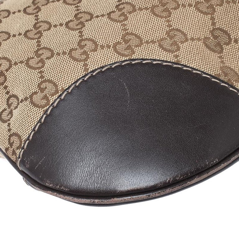 Gucci Beige/Brown GG Canvas and Leather Mayfair Bow Crossbody Bag For Sale 6