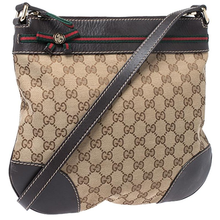 Women's Gucci Beige/Brown GG Canvas and Leather Mayfair Bow Crossbody Bag For Sale