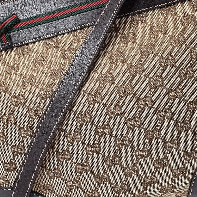Gucci Beige/Brown GG Canvas and Leather Mayfair Bow Crossbody Bag For Sale 5