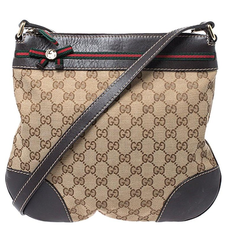 Gucci Beige/Brown GG Canvas and Leather Mayfair Bow Crossbody Bag For Sale