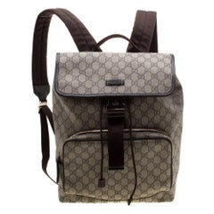 Gucci Beige/Brown GG Canvas and Leather Medium Flaptop Backpack