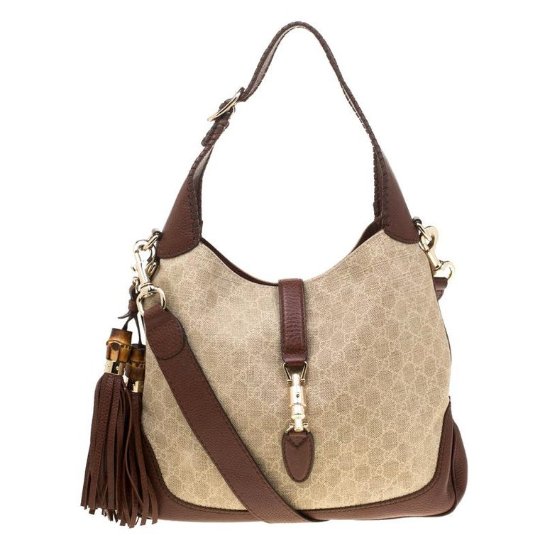 10b749f4f Gucci Beige/Brown GG Canvas and Leather Medium New Jackie Hobo For Sale
