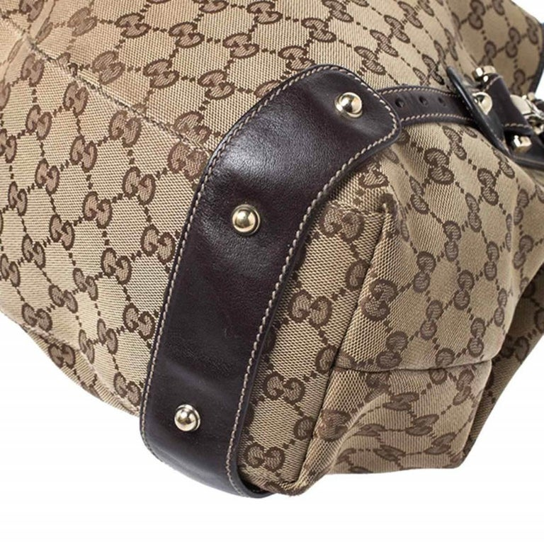 Gucci Beige/Brown GG Canvas and Leather Medium Pelham Shoulder Bag For Sale 6