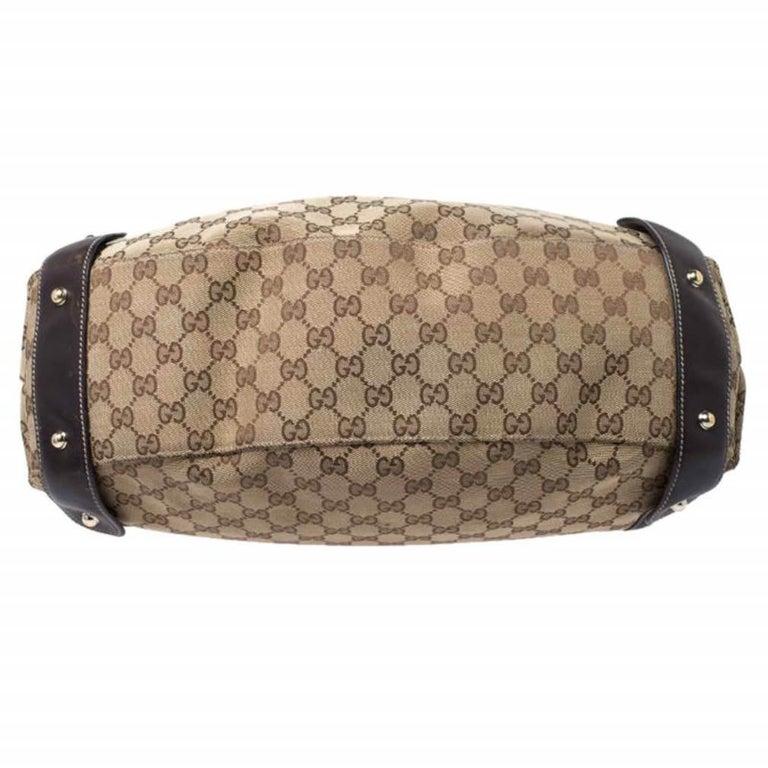 Gucci Beige/Brown GG Canvas and Leather Medium Pelham Shoulder Bag For Sale 1