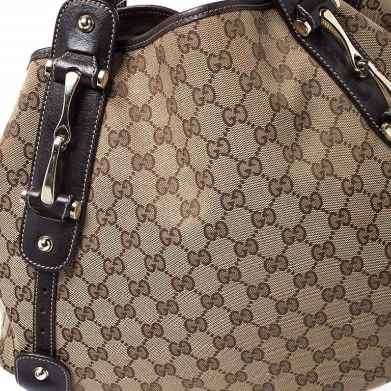 Gucci Beige/Brown GG Canvas and Leather Medium Pelham Shoulder Bag For Sale 3