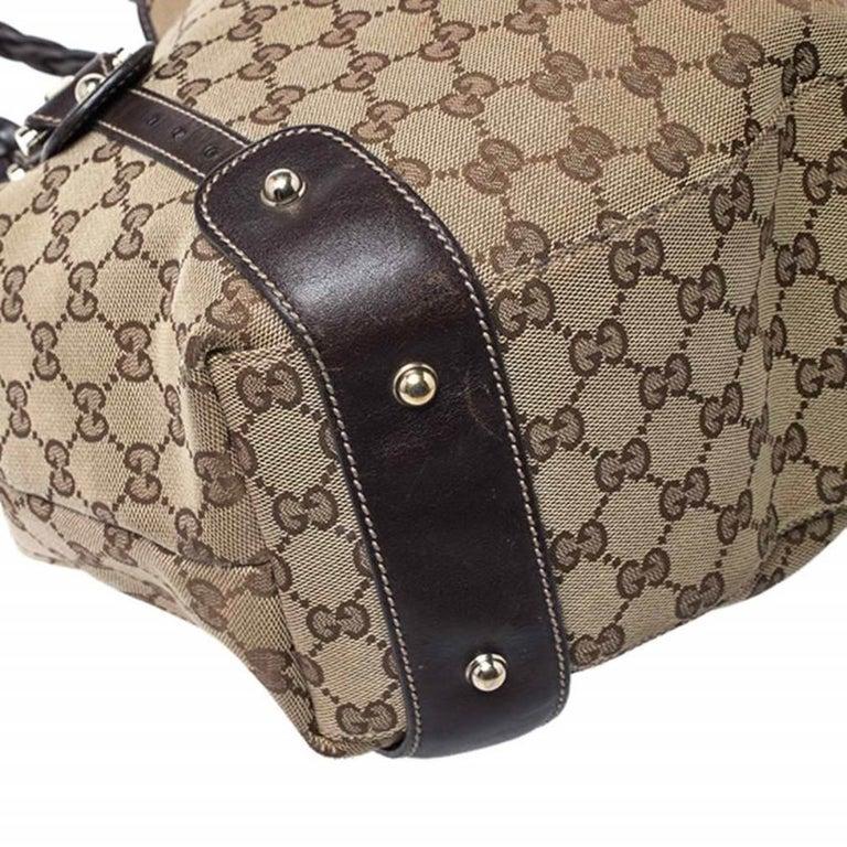 Gucci Beige/Brown GG Canvas and Leather Medium Pelham Shoulder Bag For Sale 5