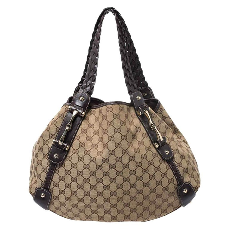 Gucci Beige/Brown GG Canvas and Leather Medium Pelham Shoulder Bag For Sale