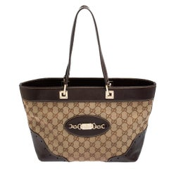 Gucci Beige/Brown GG Canvas and Leather Medium Punch Tote