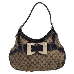 Gucci Beige/Brown GG Canvas and Leather Medium Queen Hobo