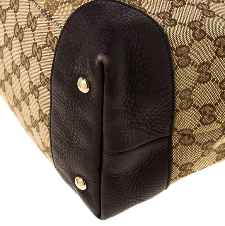 Gucci Beige/Brown GG Canvas and Leather Medium Supreme Web Dressage Tote For Sale 6