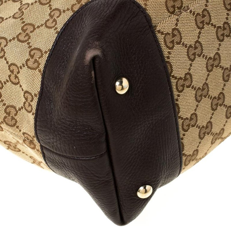 Gucci Beige/Brown GG Canvas and Leather Medium Supreme Web Dressage Tote For Sale 7