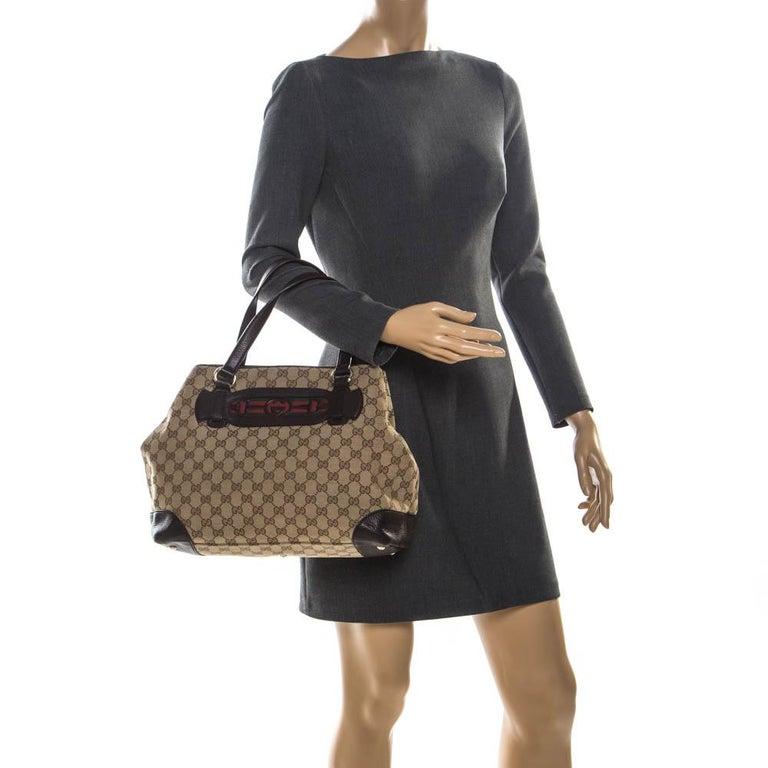Gucci Beige/Brown GG Canvas and Leather Medium Supreme Web Dressage Tote In Good Condition For Sale In Dubai, Al Qouz 2