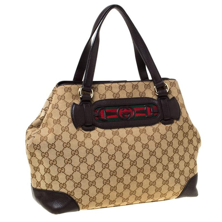 Women's Gucci Beige/Brown GG Canvas and Leather Medium Supreme Web Dressage Tote For Sale