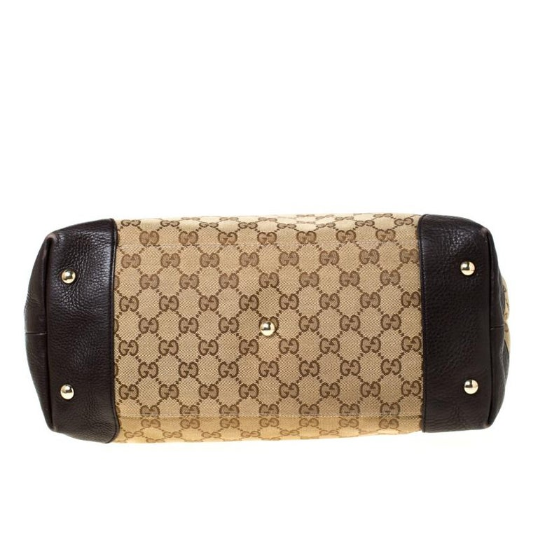 Gucci Beige/Brown GG Canvas and Leather Medium Supreme Web Dressage Tote For Sale 1