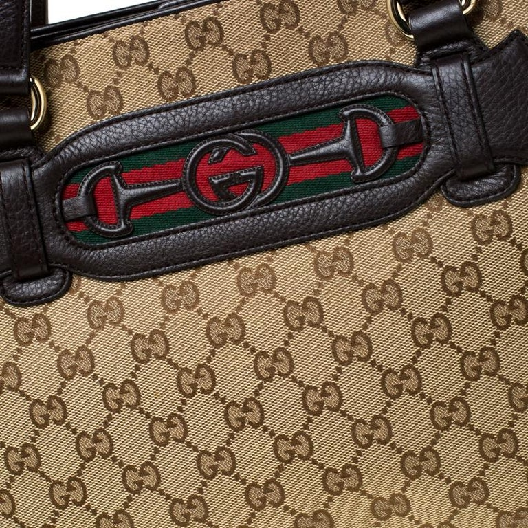 Gucci Beige/Brown GG Canvas and Leather Medium Supreme Web Dressage Tote For Sale 5