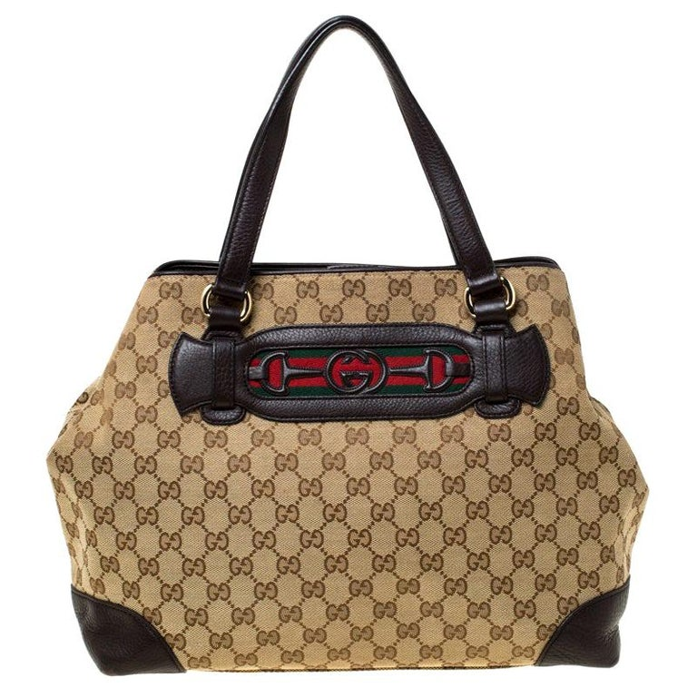 Gucci Beige/Brown GG Canvas and Leather Medium Supreme Web Dressage Tote For Sale