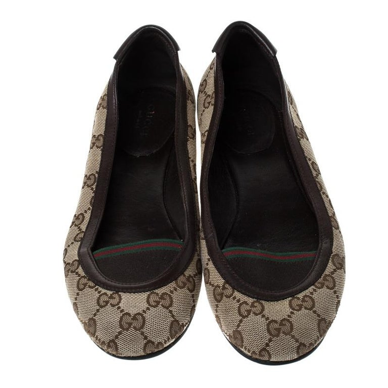 Gucci Beige/Brown GG Canvas and Leather Web Ballet Flats Size 39 For Sale 1
