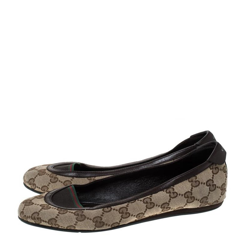Gucci Beige/Brown GG Canvas and Leather Web Ballet Flats Size 39 For Sale 3