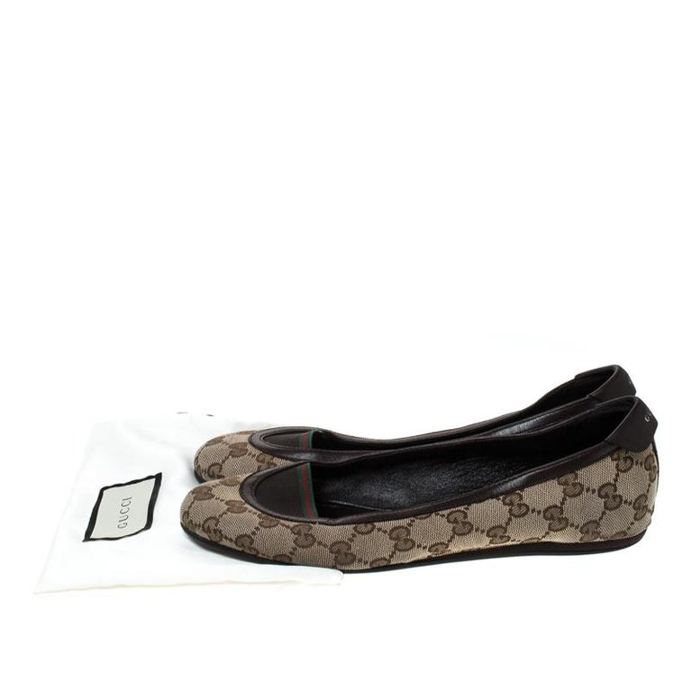 Gucci Beige/Brown GG Canvas and Leather Web Ballet Flats Size 39 For Sale 4