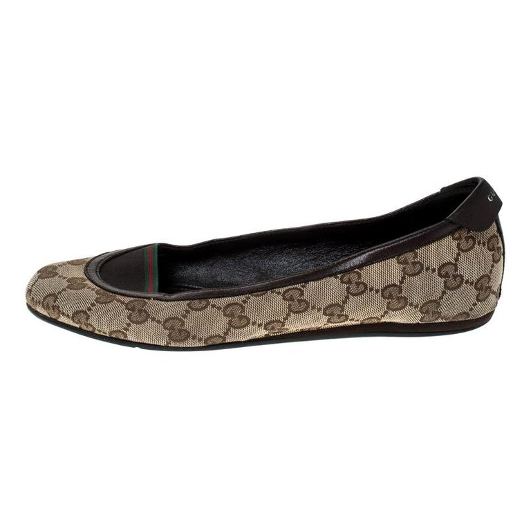Gucci Beige/Brown GG Canvas and Leather Web Ballet Flats Size 39 For Sale