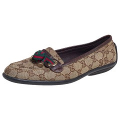 Gucci Beige/Brown GG Canvas and Leather Web Bow Detail Loafers Size 38