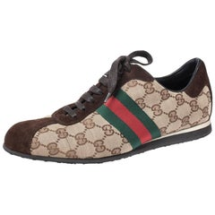 Gucci Beige/Brown GG Canvas and Suede Web Low Top Sneakers Size 38.5