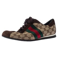Gucci Beige/Brown GG Canvas And Suede Web Low Top Sneakers Size 43