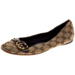 Gucci Beige/Brown GG Canvas Double G Ballet Flats Size 39