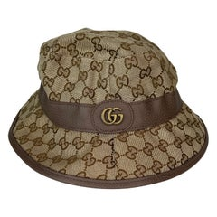 Gucci Beige & Brown GG Canvas Fedora Hat (Medium) 508027