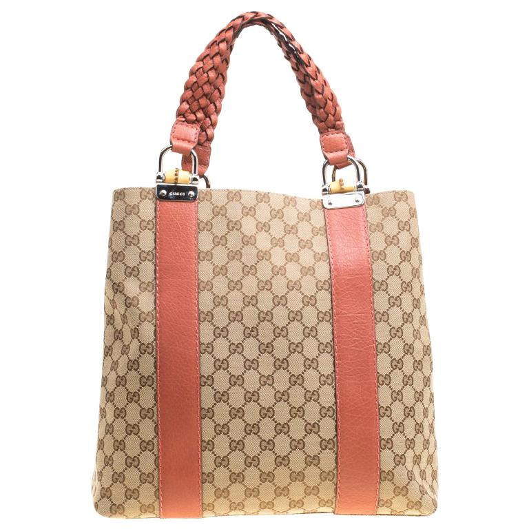 Gucci Beige Brown GG Canvas Large Bamboo Bar Tote at 1stdibs c964b24385c