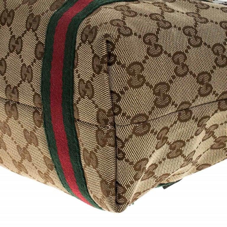 Gucci Beige/Brown GG Canvas Mini Jolicoeur Web Tote 7