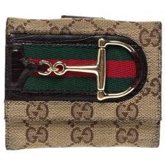 Gucci Beige/Brown GG Canvas Web Horsebit Compact Wallet