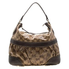 Gucci Beige/Brown GG Crystal Canvas and Leather Mix Medium Hobo