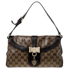 Gucci Beige/Brown GG Crystal Canvas and Leather Small Duchessa Shoulder Bag