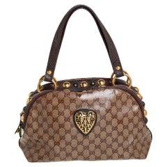 Gucci Beige/Brown GG Crystal Canvas Babouska Crest Dome Bag