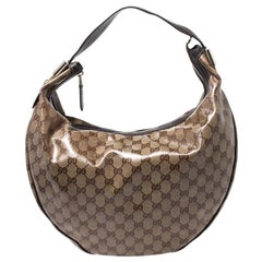 Gucci Beige/Brown GG Crystal Canvas Duchessa Hobo