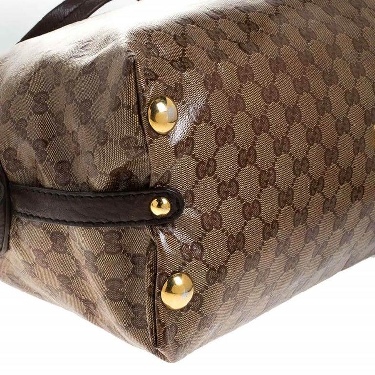 Gucci Beige/Brown GG Crystal Canvas Large Babouska Crest Dome Bag For Sale 6