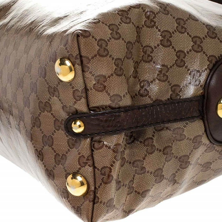Gucci Beige/Brown GG Crystal Canvas Large Babouska Crest Dome Bag For Sale 7