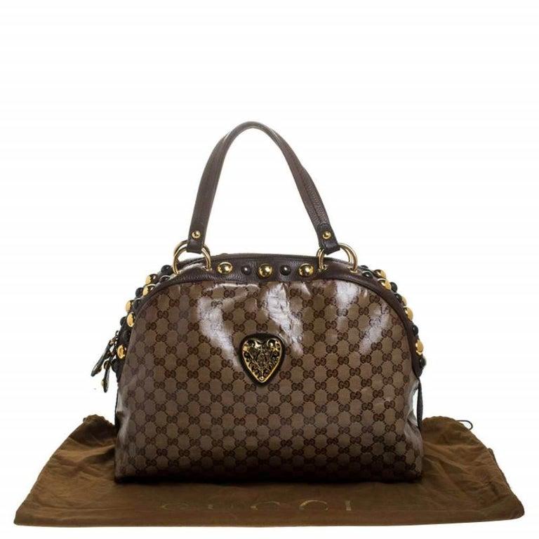 Gucci Beige/Brown GG Crystal Canvas Large Babouska Crest Dome Bag For Sale 8