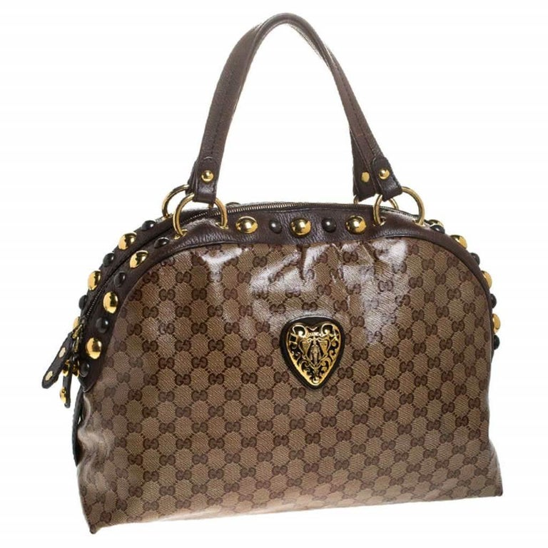 Women's Gucci Beige/Brown GG Crystal Canvas Large Babouska Crest Dome Bag For Sale