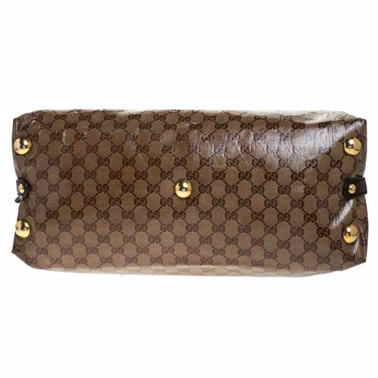 Gucci Beige/Brown GG Crystal Canvas Large Babouska Crest Dome Bag For Sale 1