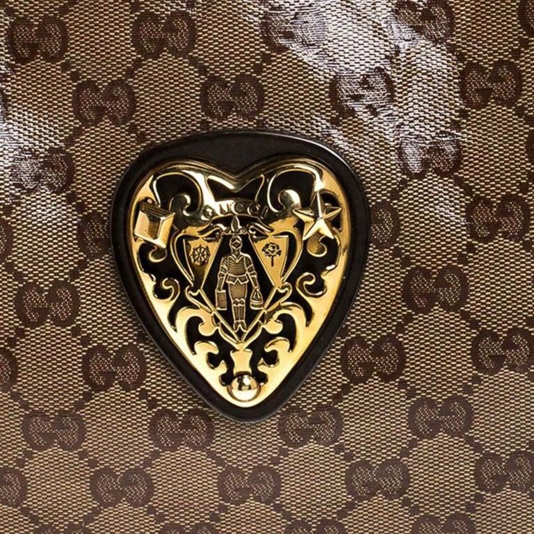 Gucci Beige/Brown GG Crystal Canvas Large Babouska Crest Dome Bag For Sale 2