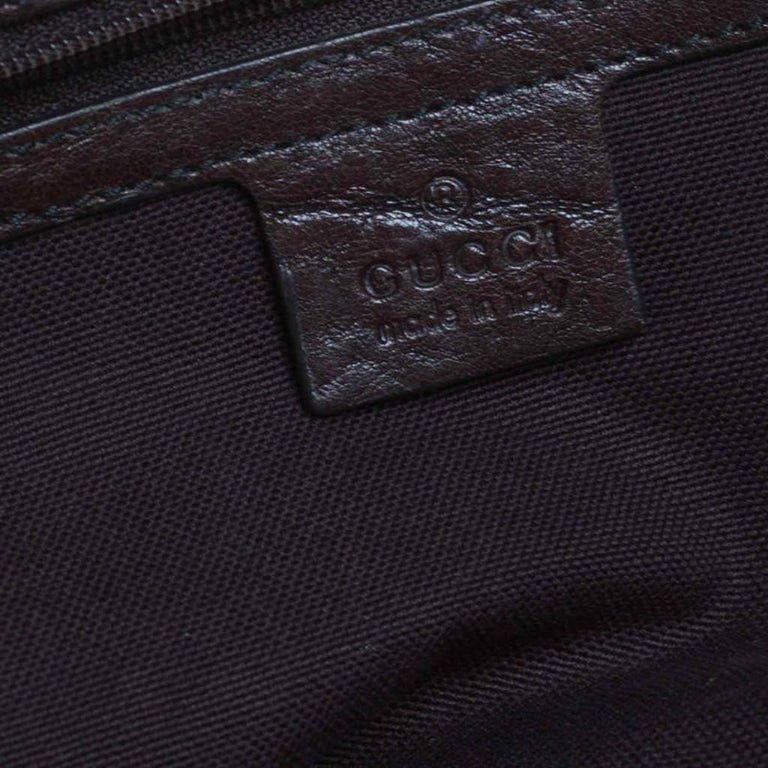 Gucci Beige/Brown GG Crystal Canvas Large Babouska Crest Dome Bag For Sale 5