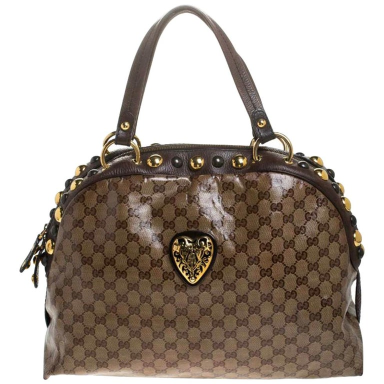 Gucci Beige/Brown GG Crystal Canvas Large Babouska Crest Dome Bag For Sale
