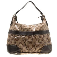 Gucci Beige/Brown GG Crystal Canvas Medium Mix Hobo